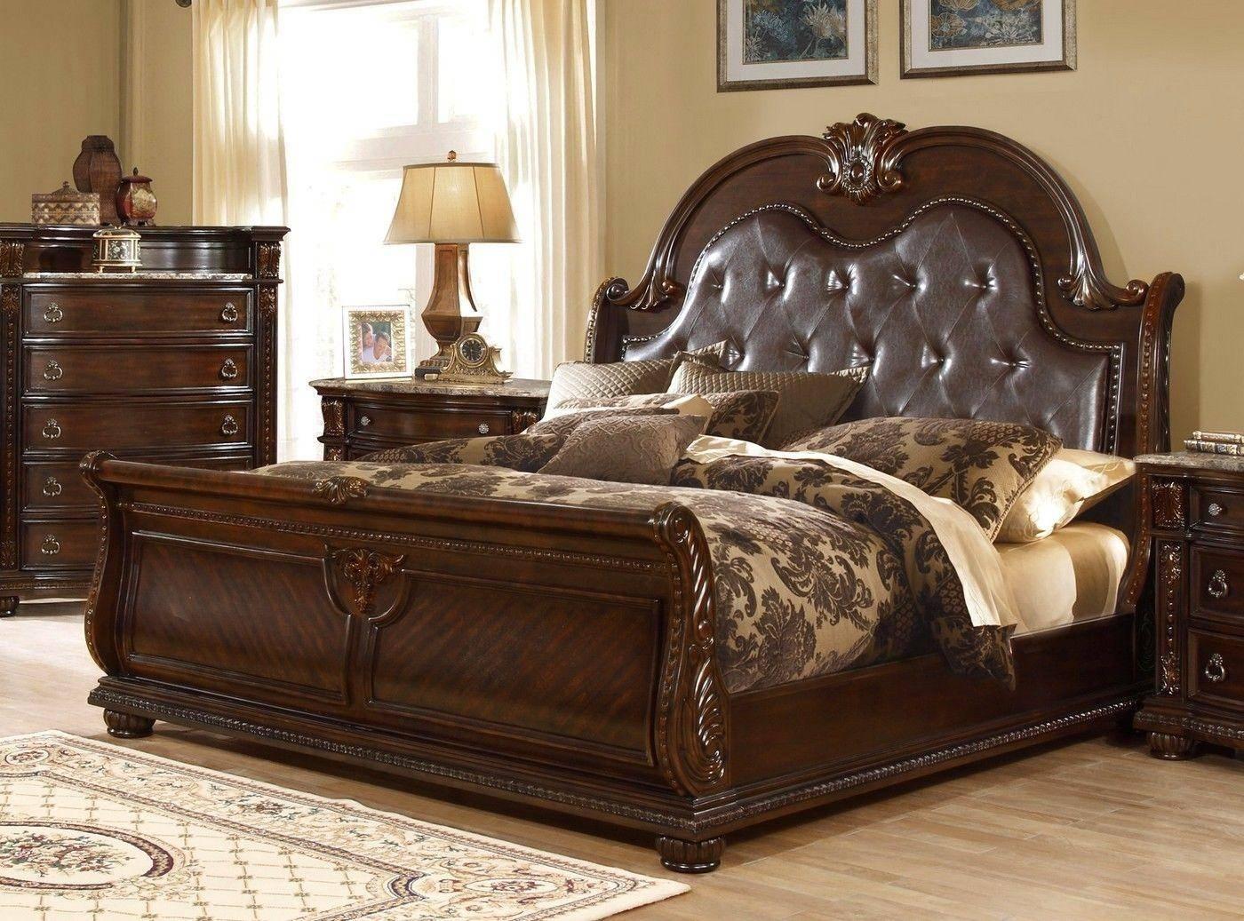 Buy Mcferran B9500 Ck California King Sleigh Bed In Amber Dark Cherry Leather Online