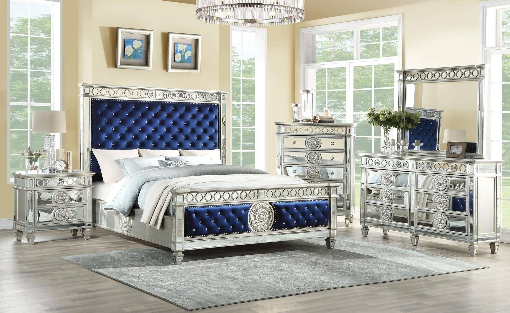 Buy Acme Varian Queen Panel Bedroom Set 5 Pcs In Blue Silver Mirrored Velvet Online