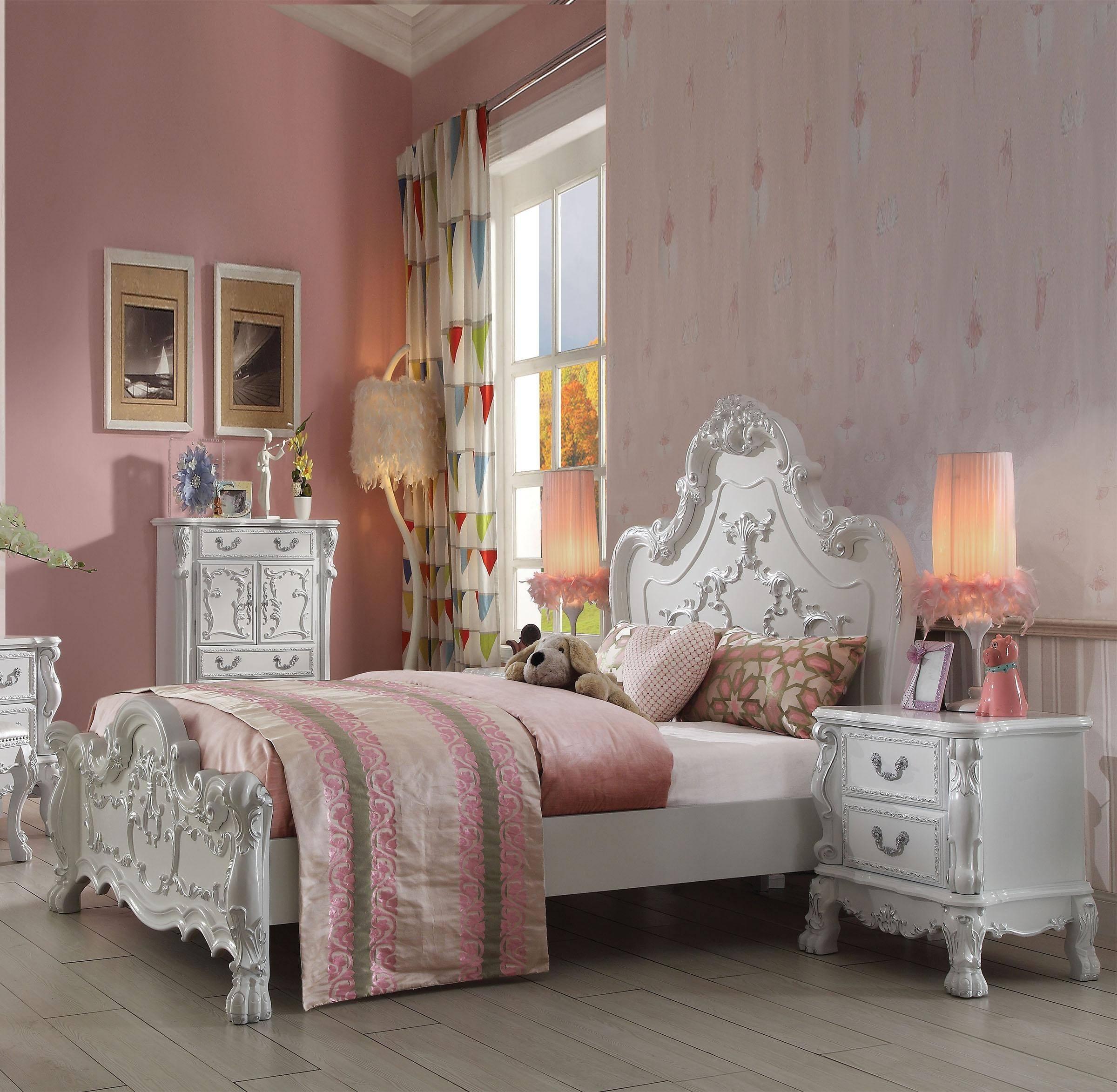Buy Acme Dresden Kids 30665f Full Panel Bedroom Set 3 Pcs In Antique White Veneers Solid Hardwood Online