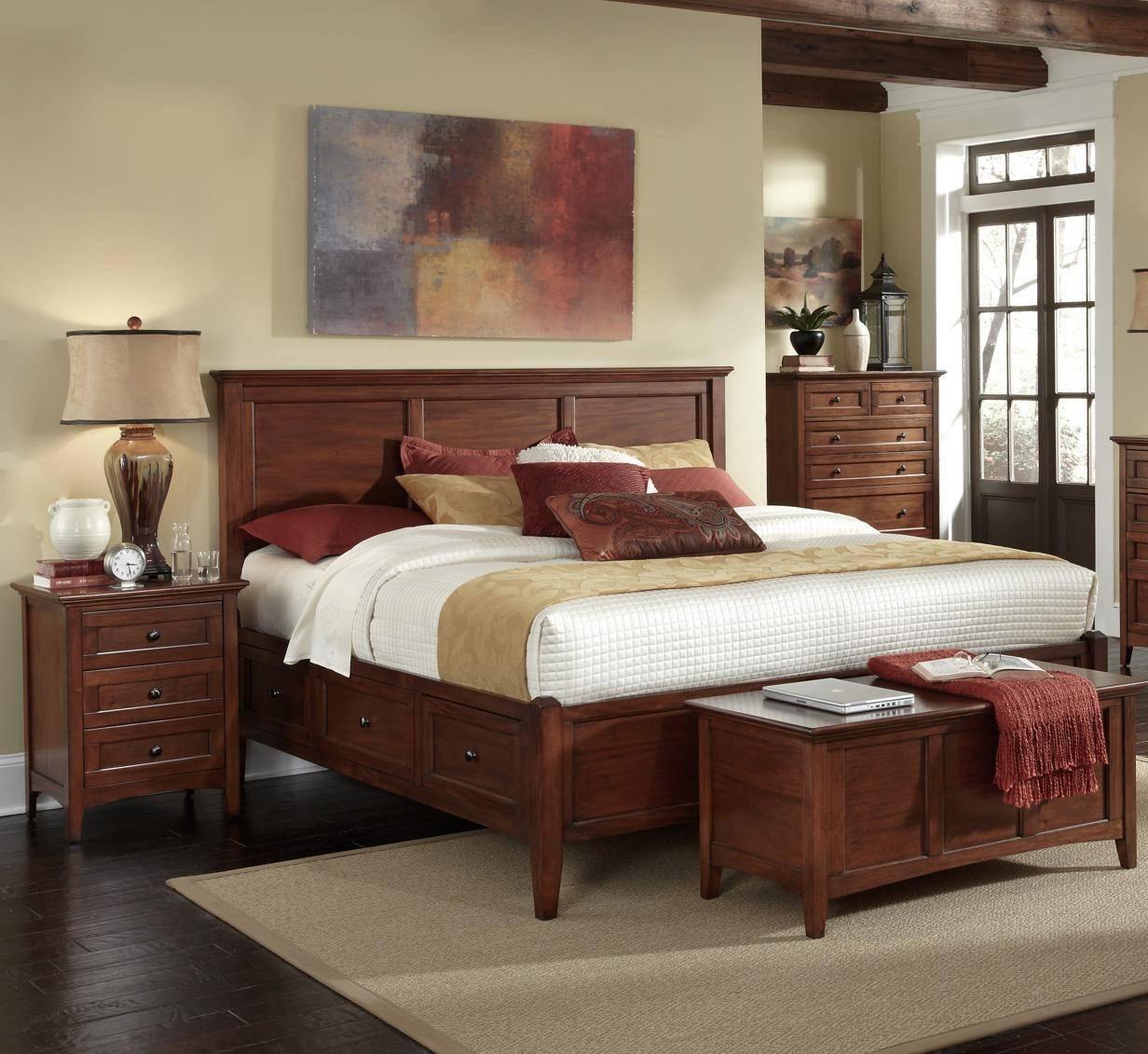 A America Westlake Queen Storage Bedroom Set 3 Pcs in Brown, Cherry, Wood