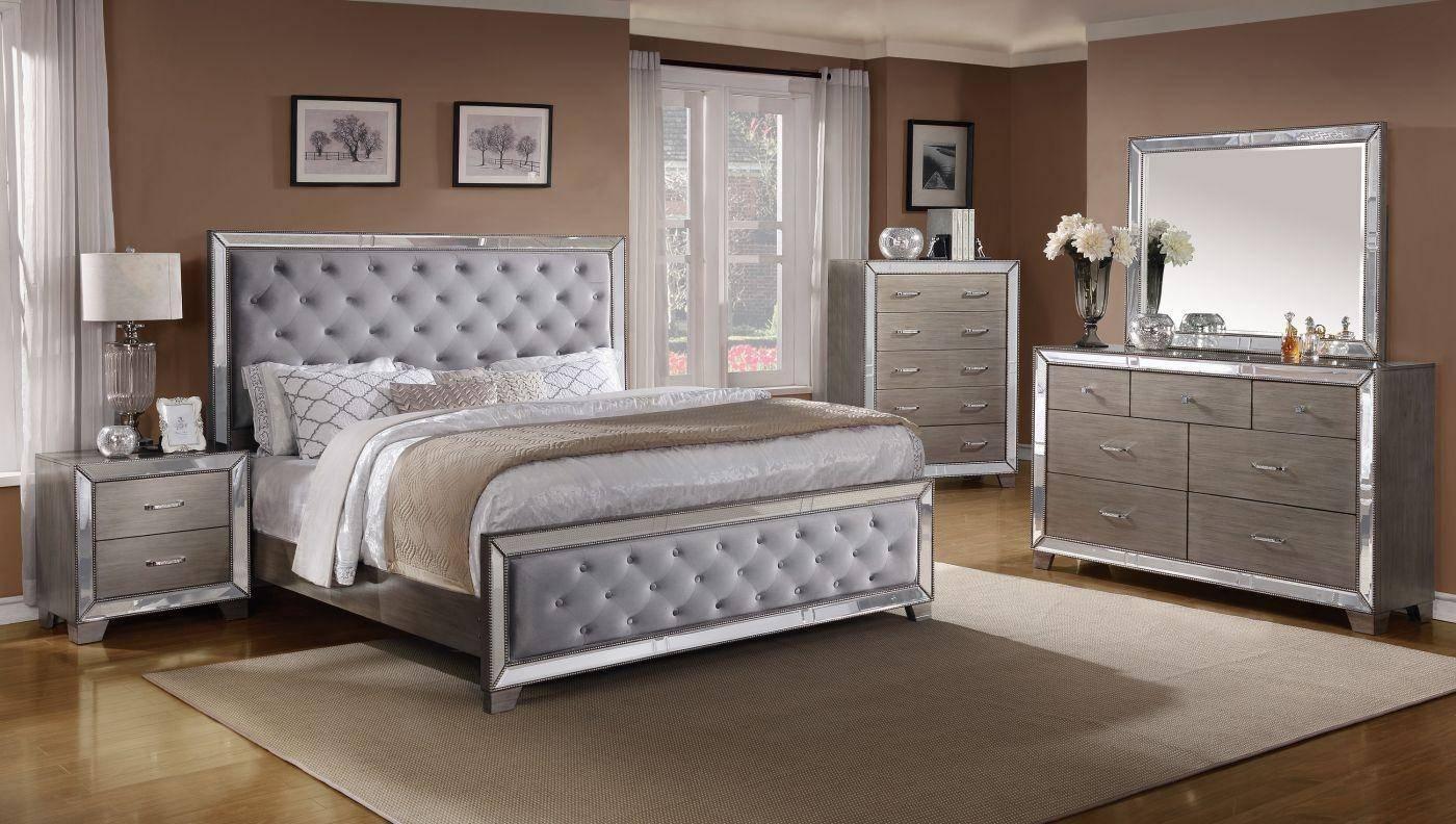 Buy Crown Mark B7680 Cosette Queen Panel Bedroom Set 3 Pcs In Gray Silver Fabric Online