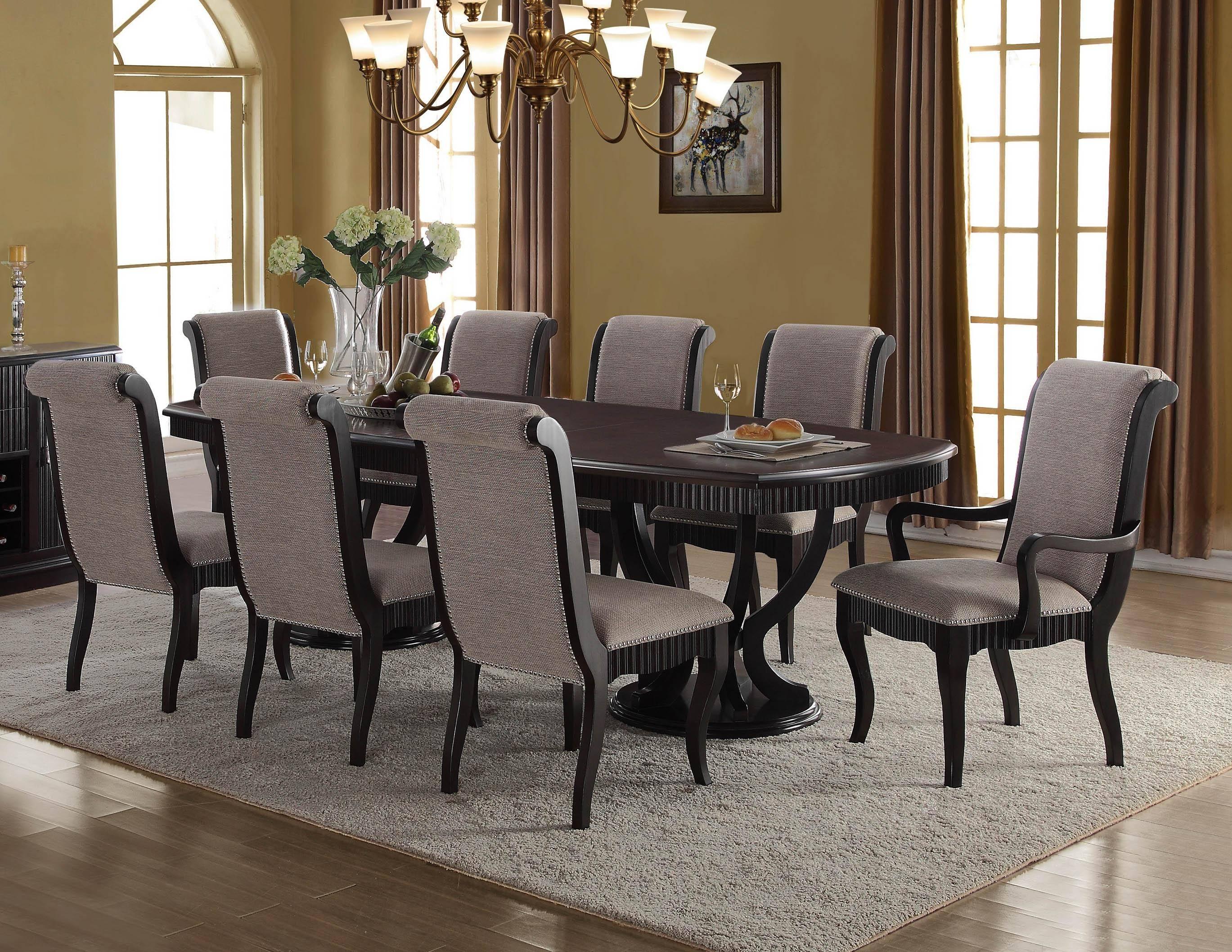 Buy Mcferran D1600 Dining Table Set 7 Pcs In Black Gray Fabric Online