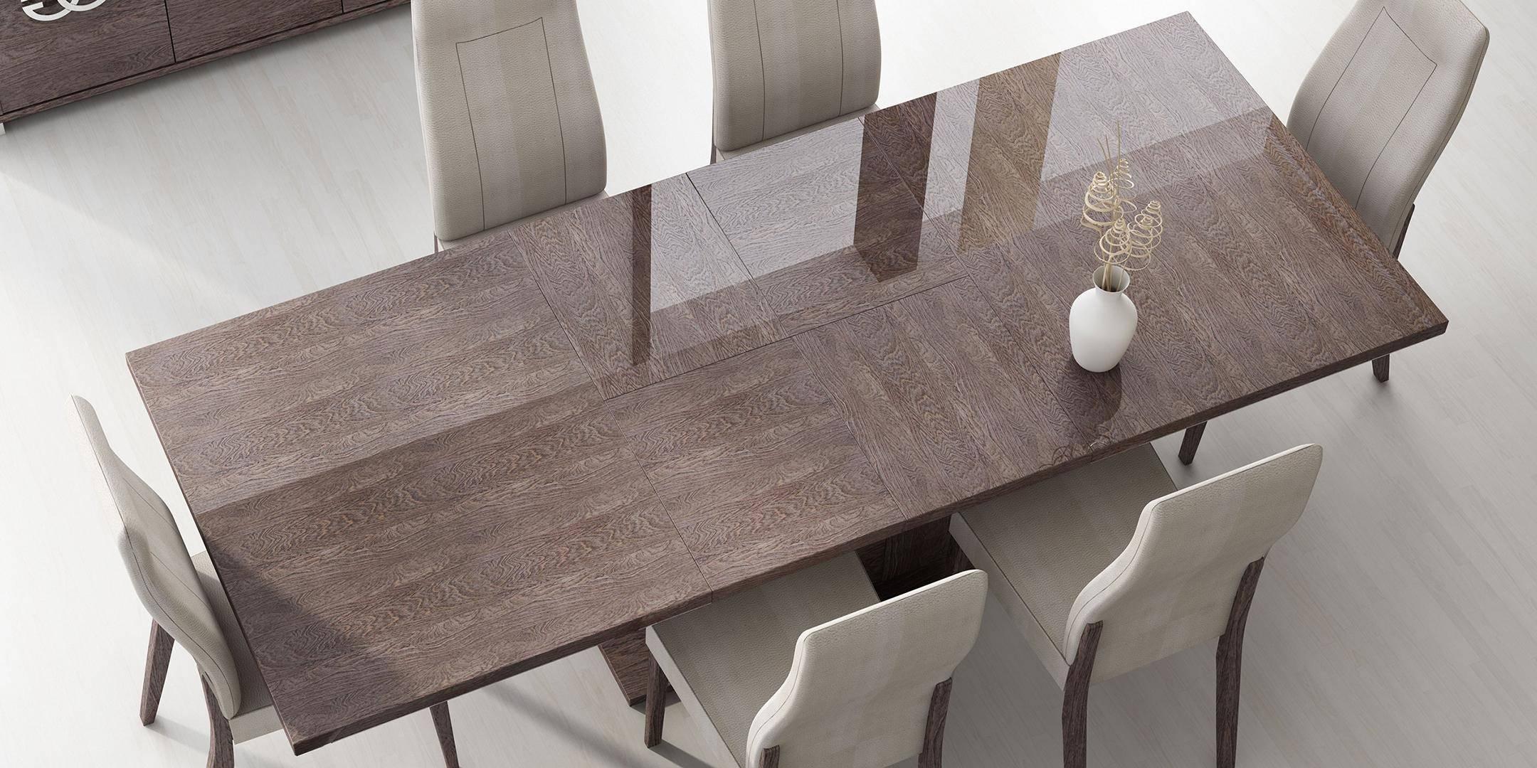Buy Esf Georgia Dining Table Set 8 Pcs In Silver Wenge Cream Microfiber Online