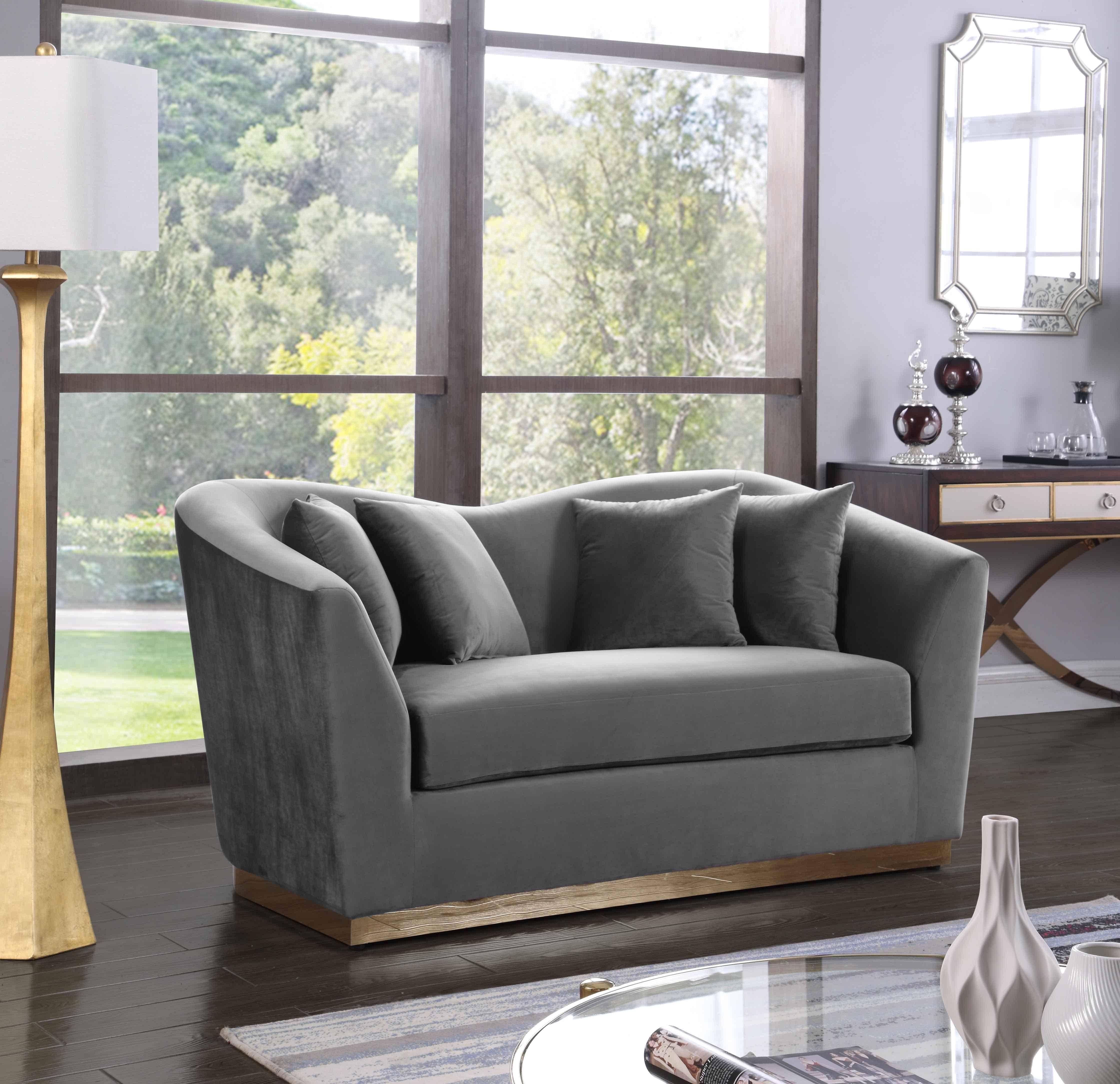 Buy Meridian Arabella 617 Sofa And Loveseat Set 2 Pcs In Gray Soft Velvet Online
