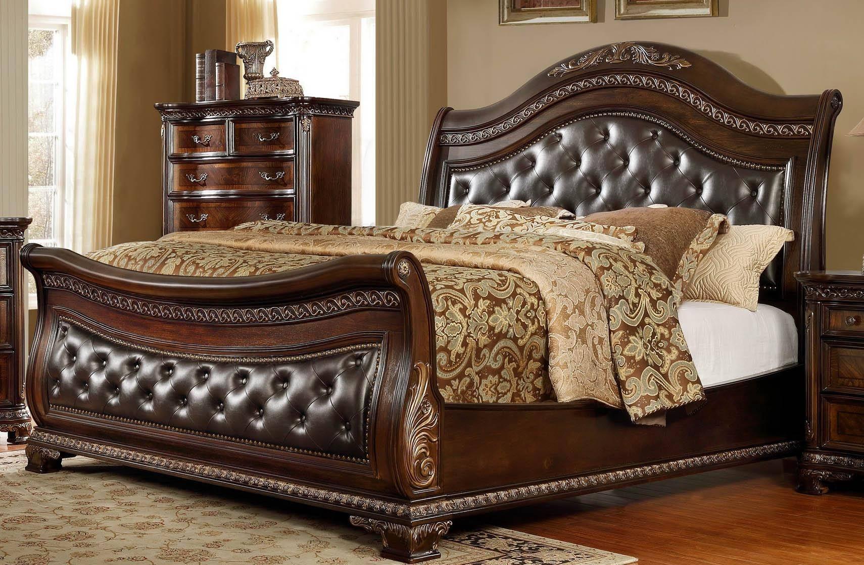 McFerran B9588 Queen Sleigh Bedroom Set in Oak Veneers,Dark Cherry Finish,  Dark Cherry Finish, Leather