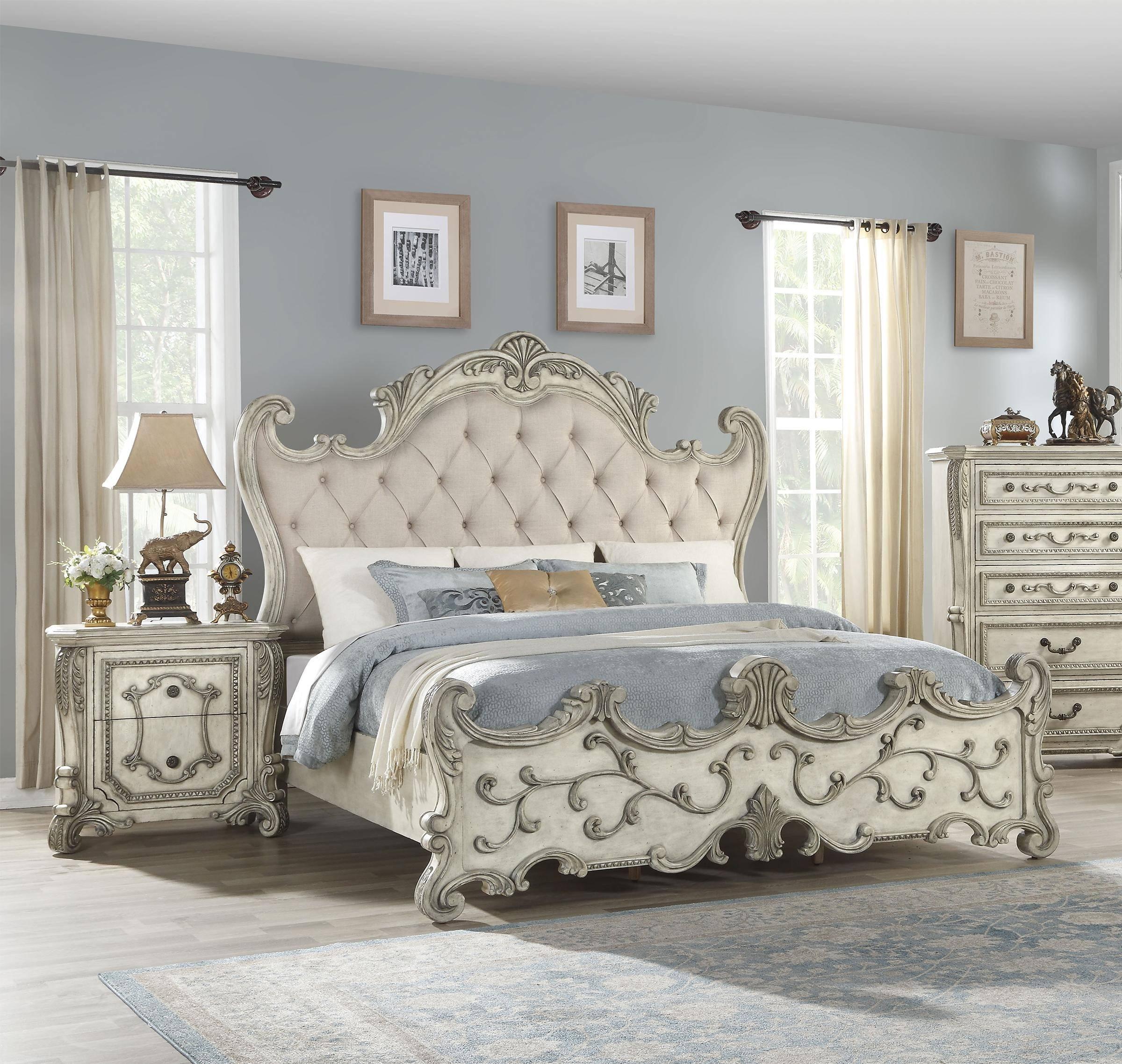 Buy Acme Braylee Queen Panel Bedroom Set 3 Pcs In Silver Antique