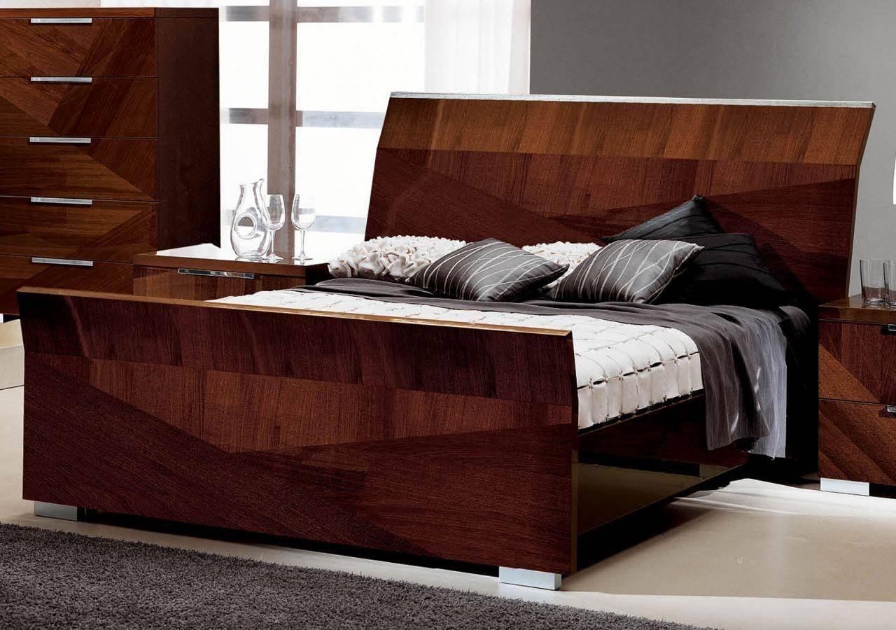 Buy Esf Capri King Sleigh Bedroom Set 5 Pcs In Walnut Wood Veneers Online