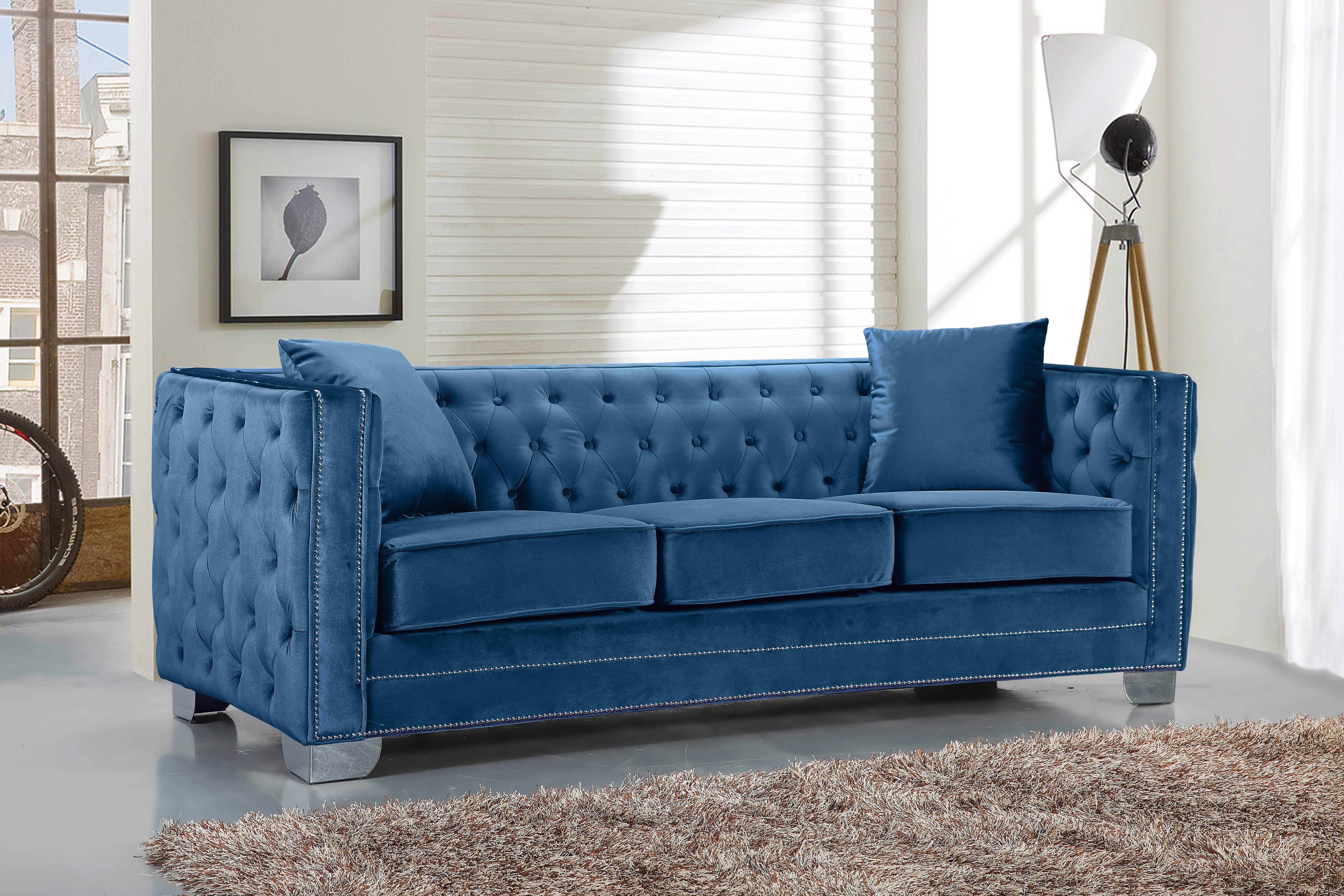 Meridian 648 Reese Light Blue Sofa in Light Blue, Velvet